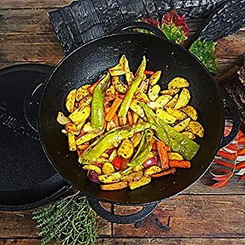 BBQ-Toro Kazan | Cocotte en Fonte avec Couvercle | Casserole Traditionnelle en Fonte | avec Fond aplati | Wok Noir (6,9 litres)