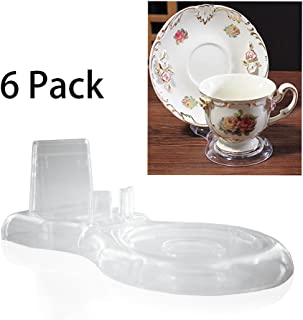 Artliving Clear Teacups and Saucer Display Easel Stand Holder,Set of 6