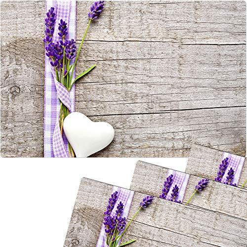 matches21 Tischsets Platzsets MOTIV Lavendel auf Holzbrett 4 Stk. Kunststoff abwaschbar je 43,5x28,5 cm