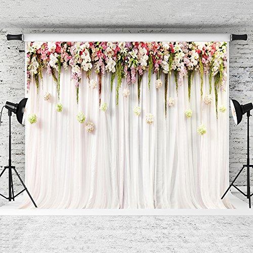KateHome PHOTOSTUDIOS 2,2x1,5m Hochzeit Hintergrund Rosa Fotoleinwand Weiss Fotografie Wedding Hintergründe Hochzeit Vintage Fotohintergrund Textur für Fotostudio