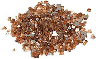 Skyflame High Luster 10-Pound Fire Glass for Fire Pit Fireplace Landscaping, 1/4-Inch Copper Reflective