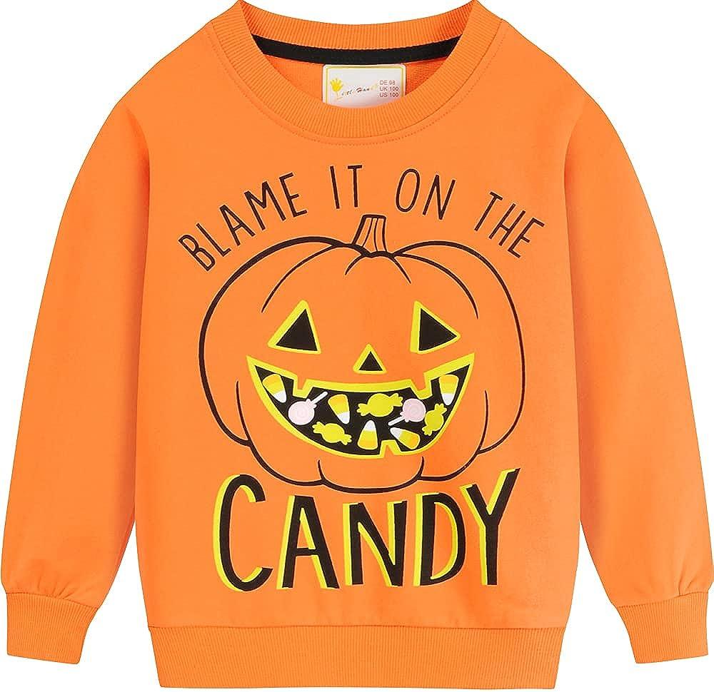 Toddler Boys Girls Halloween Sweatshirt Glow in The Dark Pumpkin Skeleton Ghost Kid Pullover T Shirts Top Tees 2-7T