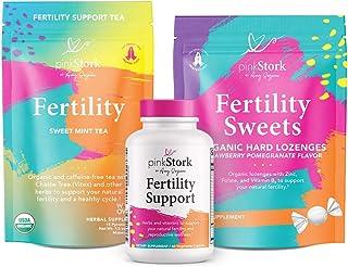 Pink Stork Fertility Bundle: Fertility Tea, Fertility Supplements for Women, & Zinc Lozenges - Conception Prenatal Vitamins with Vitamin C + Zinc + Folate + Ashwagandha + Vitex, Women-Owned