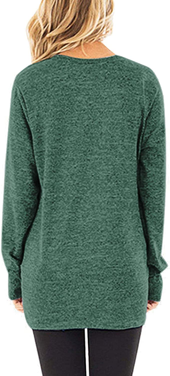 SHIBEVER Womens Soft Casual Tops Shirts Fashion Twist Knotted Blouses Short Sleeve Long Sleeve Round Neck Tunic T Shirt