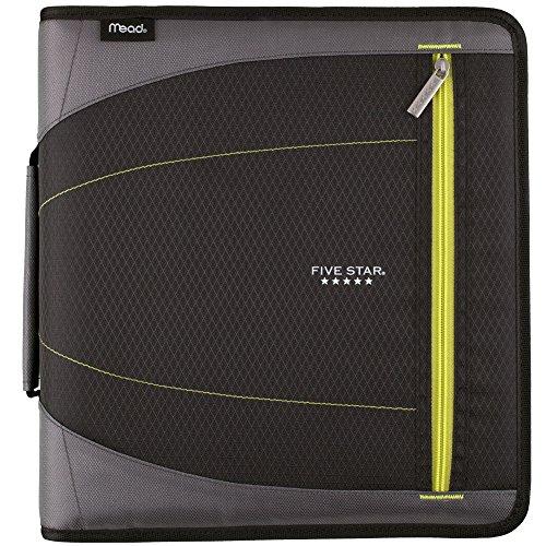 Five Star 2 Inch Zipper Binder, 3 Ring Binder, Removable File Folders, Durable, Black (73289)