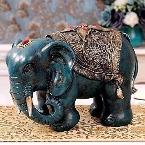 Zfggd Sala de Escultura Adornos elefante hogar de la resina Decoración Lucky Feng Shui Living TV Armario gabinete del vino Inicio artesanales adornos (Color : B)