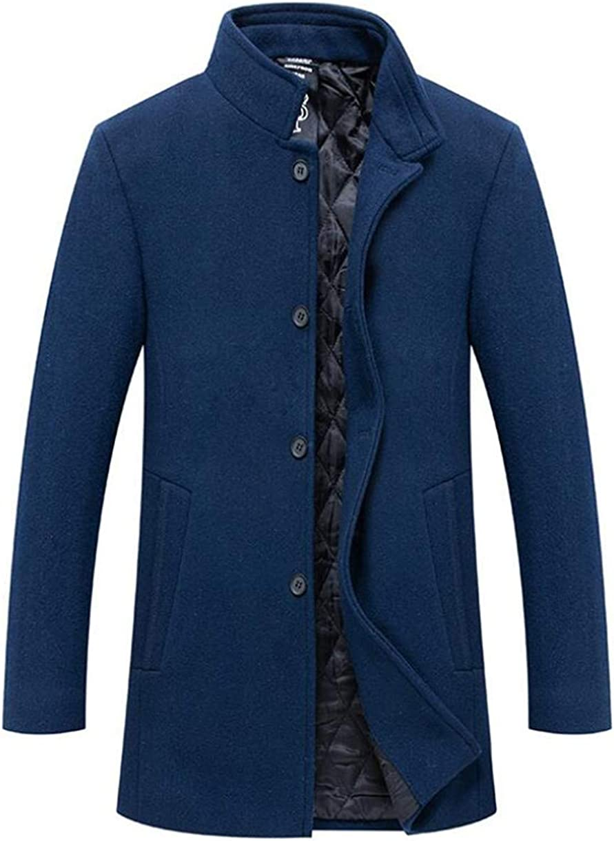 Cafuny Mens Stand Collar Wool Blend Business Outfit Jacket Casual Slim Trenchcoat Overcoat