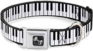 Buckle-Down Seatbelt Buckle Dog Collar - Piano Keys - 1.5