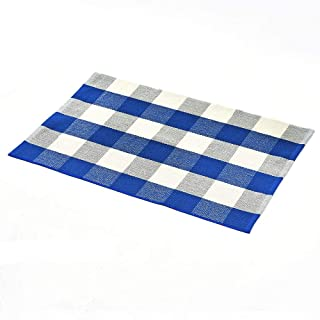 Idubai Checkered Kitchen Rug,Washable Blue and White Area Rugs Durable Outdoor Porch Rugs Buffalo Plaid Floor Rug Hand-Woven Farmhouse Rug Cotton Living Room Rug,23.6''x 51.2''