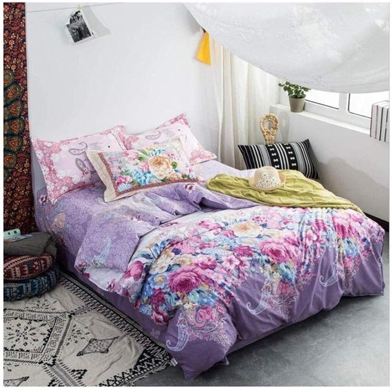 Ensemble de housse de couette en microfibre légère, motif imprimé floral Couleuré, violet, couleur rose - Superbe taille pivoine (Taille   1.2 m three-piece set)