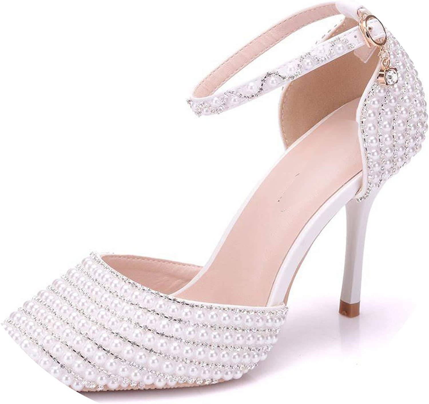 Sunny Doll Fashion shoes 2019 Women High Heels Pump Full Pearl Heels Wedding Party shoes Ankle Strap Crystal