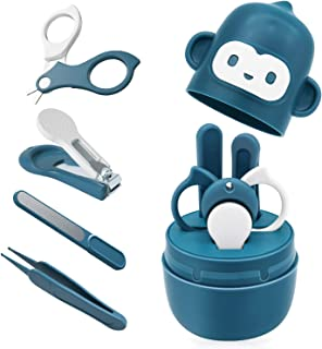 Bamoer Baby Nail Kit, Baby Nail Care Set 4-in-1 Including Baby Nail Clipper, Scissor, Nail File & Tweezers, Baby Manicure Kit and Pedicure Kit for Newborn, Infant & Toddler, Cute Case (Blue)
