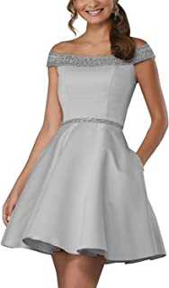 Women's Off Shoulder Beaded A-line Cocktail Short Prom Gown W/ Pockets