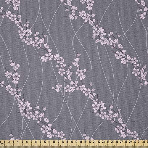 ABAKUHAUS Floral Tela por Metro, japonés Sakura, Tela Elastizada Estampada para Costura Arte y Bricolaje, 1 Metro, Gris pardo pálido rosa