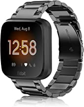 Fintie Metal Band Compatible with Fitbit Versa 2, Versa, Versa Lite Edition, Solid Stainless Steel Strap Replacement Wristband Business Bracelet Compatible with Fitbit Versa Smartwatch, Black