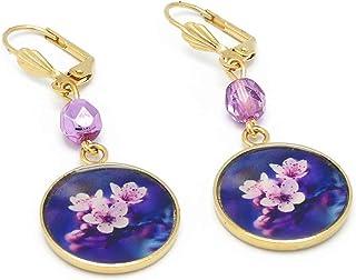 Orecchini SAKURA 24K oro ottone Giappone fiore viola rosa bianco resina perline personalizzate regali di Natale anniversar...
