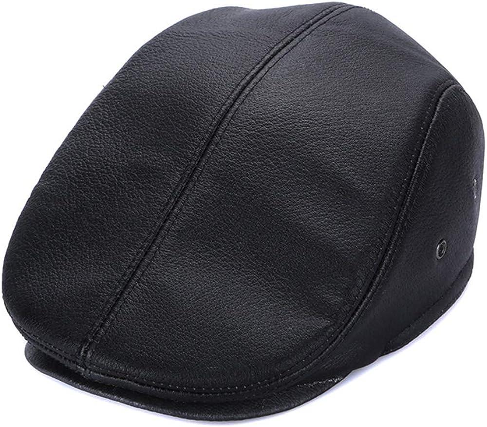 Newboys Hat Mens Thick Winter SALE Warm Classic Cowhide Caps 返品交換不可 Elder Le
