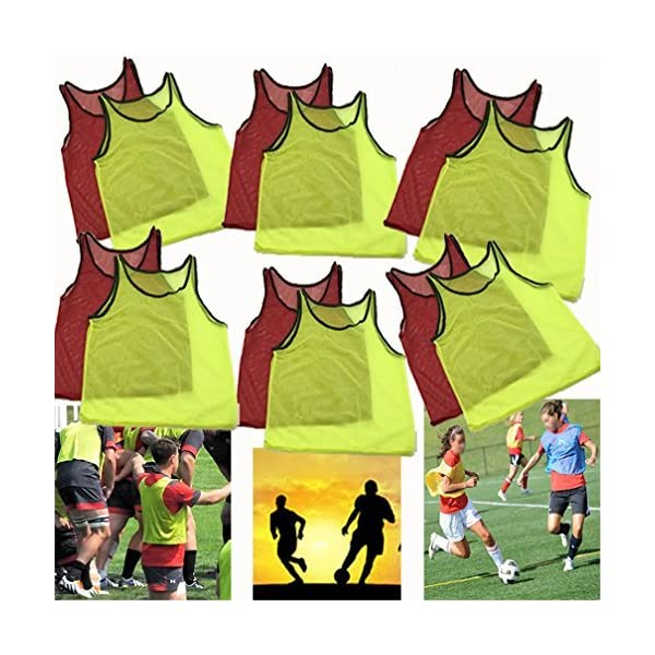 Adorox 12 Pack Youth Scrimmage Team Practice Nylon Mesh Jerseys Vests Pinnies for Children Sports Football, Basketball, Soccer, Volleyball (6 Yellow and 6 Red)