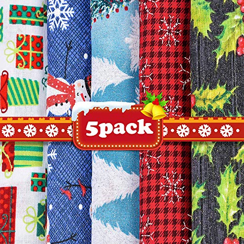 Christmas Fat Quarters Fabric Bundles 19.68'x19.68', 5 Pack DIY Craft Cotton Quilting Fabric for Sewing Sewing Patchwork Gift Wrapper