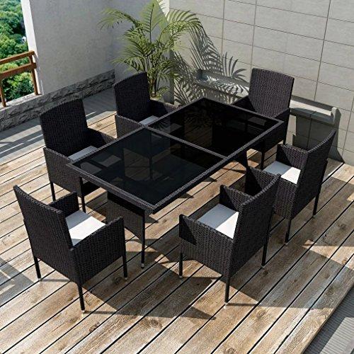 Luckyfu Tuintafel en stoelen, 13 stuks, van zwart polyrotan. De set is robuust en duurzaam. Ideaal voor de tuin. Set met tafel en tuinstoelen.