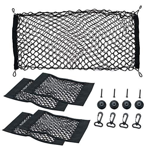 PROVO 5 Stück Auto Gepäcknetz, Elastisch Nylon Kofferraumnetz Lagerung Mesh, für Auto Van SUV usw