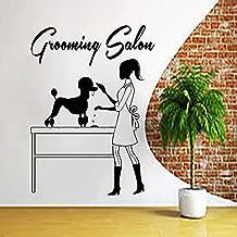 犬の壁デカールグルーミングサロンウォールステッカーペットショップ犬の壁アートペットグルーミングサロン装飾ペットショップドア窓Decor57x78cm