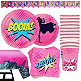 82 Piece Girl's Superhero Party Set Including Banner, Plates, Cups, Napkins, and Tablecloth, Serves 20