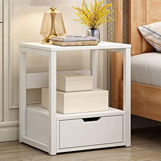 Modern Nightstand Side End Table for Living Room, 2-Tier White Bedside Table Night Stand with Storage Shelf Bin Drawer, Sofa Side Table Coffee Table, Wood Look Accent Furniture with Metal Frame, 15.7