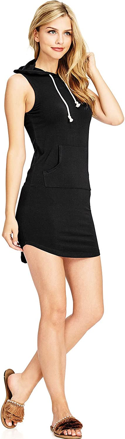 Ambiance Women's Juniors Stretchy Hoodie Casual Dress