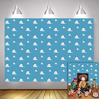 Fanghui 7x5FT Cartoon Kids Backdrop Blue Sky White Clouds Background Birthday Party Boy Baby Shower Dessert Table Banner S...