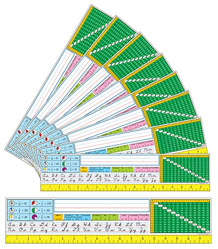Carson Dellosa Modern Cursive Nameplates—Student Labels with Name Line, Cursive Alphabet Lettering Guide, Ruler, Multiplication Chart, Place Value Chart with Fractions and Decimals (36 pc)