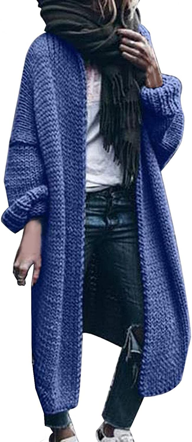 Eduavar Sweaters for Women Cardigan Long Sleeve Chunky Knit Hooded Sweater Open Front Cardigan Casual Loose Long Coats