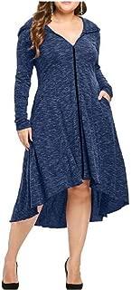 Howely Women Long Sleeve V-Neck Hoode Asymmetric Hem Fall Winter Dress Top