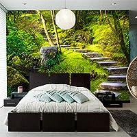 写真の壁紙グリーンフォレストストーンステップ3D壁壁画寝室リビングルームテレビソファ背景壁紙の装飾-350x250cm
