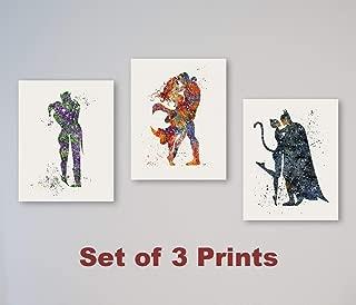Joker and Harley Quinn, Superman and Wonder Woman, Batman and Catwoman - SET of 3 Prints 11
