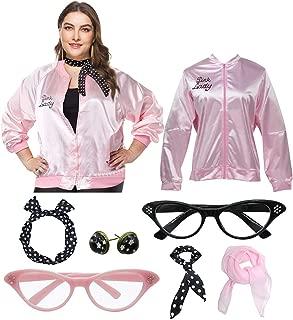 1950s Women Pink Plus Size Jacket with Cat Eye Glasses Headband Set