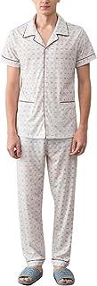 Zhhlinyuan 良質 Comfortable Cotton Nightwear Sleepwear 2 Piece メンズ Classic Pyjama Set