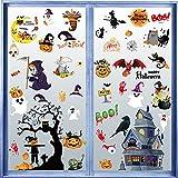 Pegatinas de Ventana de Halloween Pegatinas para Puertas Pegatinas en Forma de Calabaza Murciélago y Fantasmas Pegatinas de...