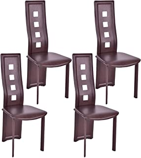 Giantex Set of 4 Dining Chairs, Heavy Duty Iron Frame, Ergonomic Curved Backrest, High Back Elastic Seat Home Furniture, Ideal for Dining Room, Kitchen and Restaurant, Home Chair Set