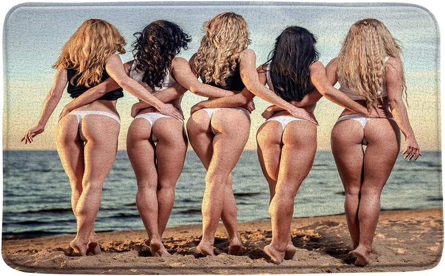 Hot busty girl naked in bathroom Amazon Com Sexy Girls Bath Mat Women Nude Busty Sexy Ass Bikini Girls On The Tropical Beach Brown Microfiber Memory Foam Bathroom Decor Mat Non Slip Backing16 X 24 Inch Home Kitchen