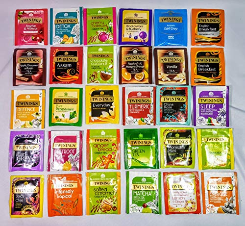 Twinings Variety Selection Pack 25 Flavours. 30 Foil Wrapped Tea Bags. Green Tea,Herbal Teas,Superblends,Fruit Infusions and Classic Black Teas