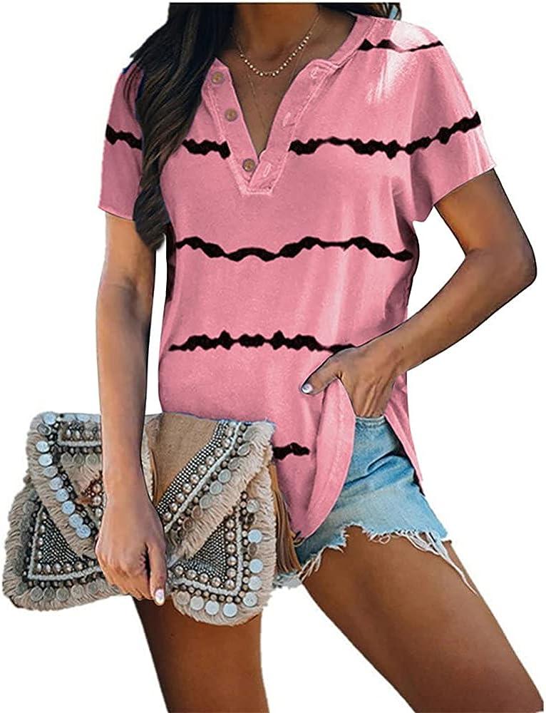 Mayntop Womens T-Shirt Summer Tops Polo Shirt Stripes Super beauty product restock Very popular quality top Tie-Dye Gr