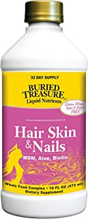 Buried Treasure Hair, Skin and Nails with MSM Biotin Aloe Vera Plus Vitamins and Minerals in a High Potency Liquid Whole Food Complex for Fuller Hair, Stronger Nails and Clearer Skin 16 oz