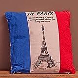 KISSEN LEINEN Paris ca.40x40cm LEINENKISSEN POMPÖS ZIERKISSEN EIFFELTURM SOFAKISSEN