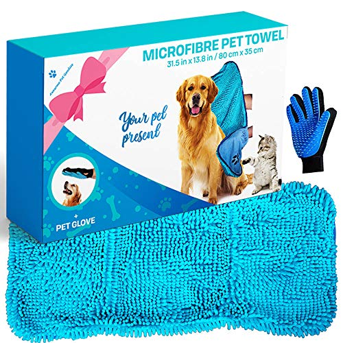 Microfibre Dog Drying Towel Chenille, Absorbent Quick Pet Drying Bundle with Pet Glove for Easy Hair Combing, Machine Washable Pet bathrobe for Puppy Cats 80x35cm Blue Kitchen Shammy Beach Small Large