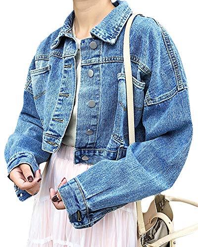 QitunC Damen Cropped Jeansjacke Casual Lange Ärmel Denim Jacke Kurz Jeansmantel Outwear Blau L