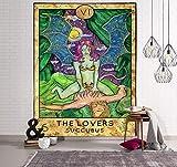 Mandala Tarot Tapiz Colgante de Pared Moon Phase Change Tapices Dormitorio Decoración Colcha Cubierta Sol Luna Decoración de la Pared 95x73CM A16 150x200cm