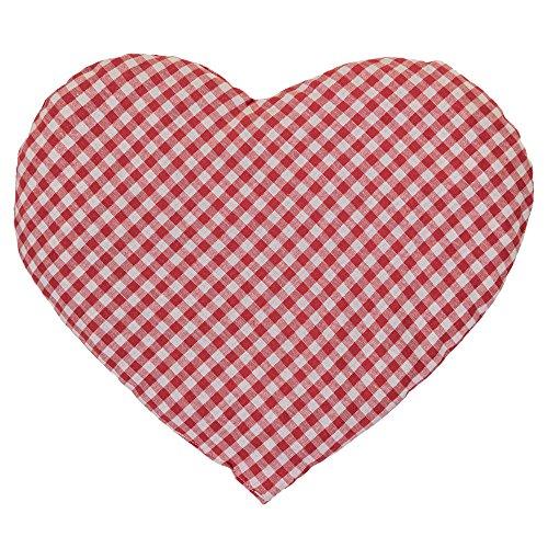 Kirschkernkissen Herz ca. 30x25cm - rot-weiß - Wärmekissen - Körnerkissen - Ein charmantes Geschenk