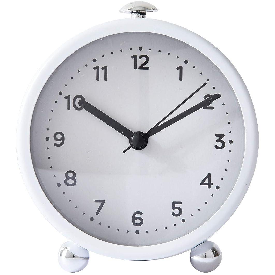 とげのある緊張音節ワイエムワールド 目覚まし時計 小さい 置き時計 アナログ 電池 小型 ホワイト 19-164