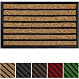 Olanly Original Durable Striped Door Mat, Indoor Outdoor, Easy Clean, Heavy Duty Doormat, 29X17, Striped Brown